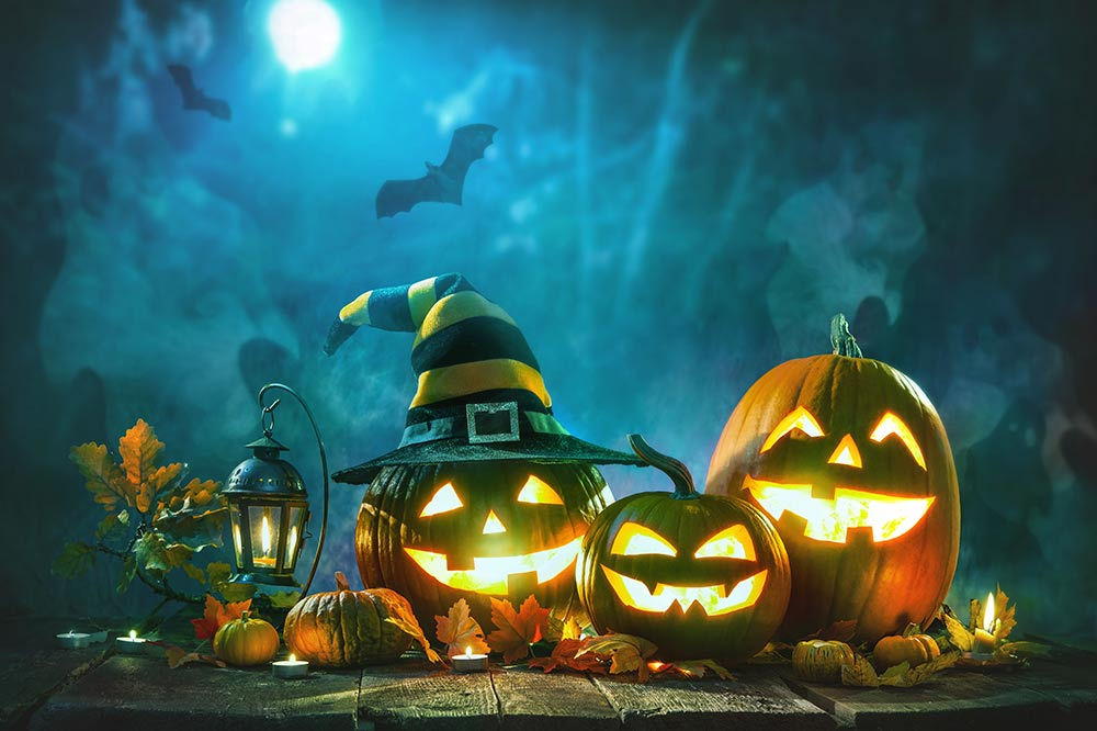 Halloween Background with Jack-O-Lanterns